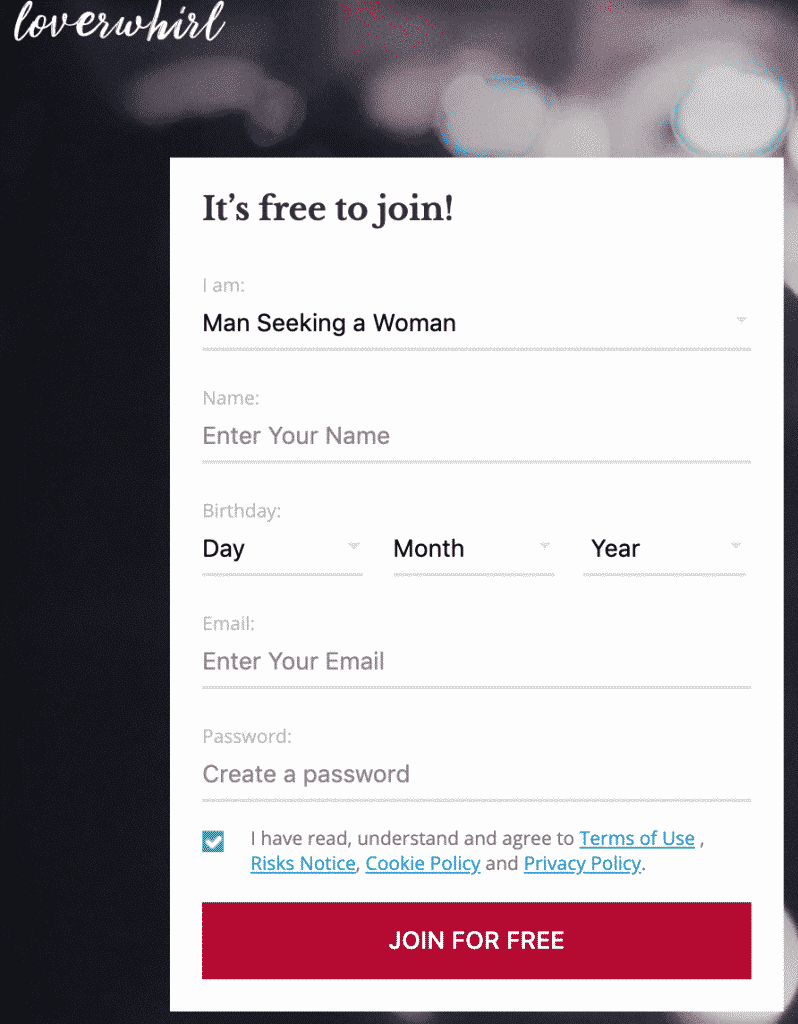 LoverWhirl Registration